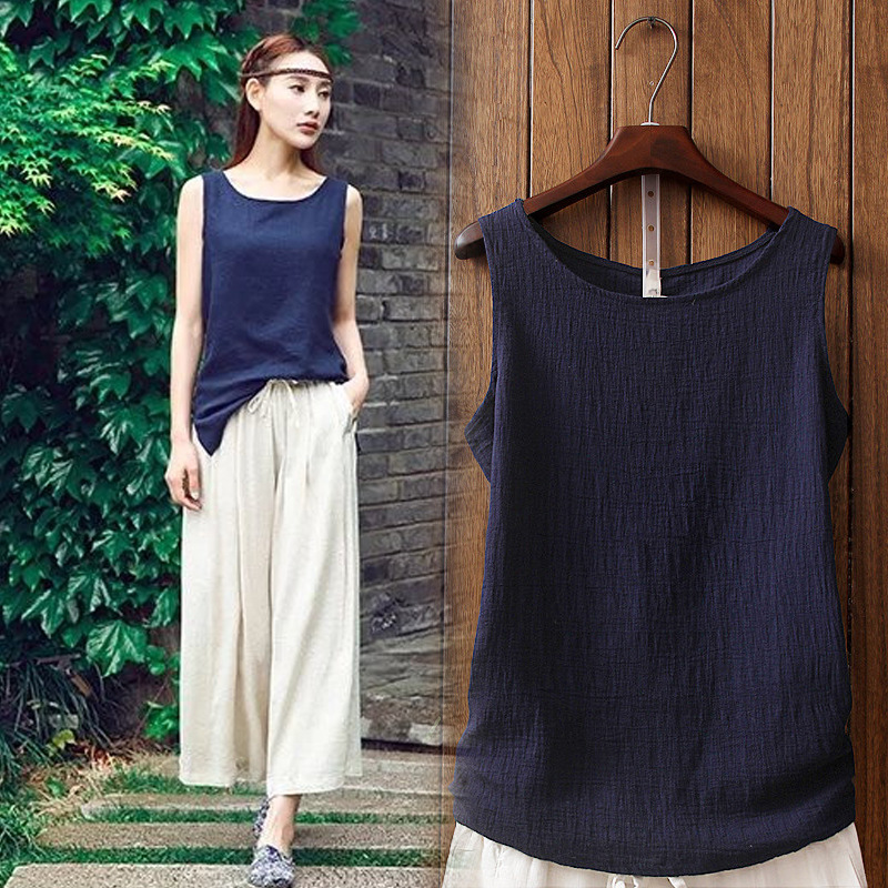Womens wear suspender cotton and linen vest in summer, with retro sleeveless loose inside and light linen top on the outside