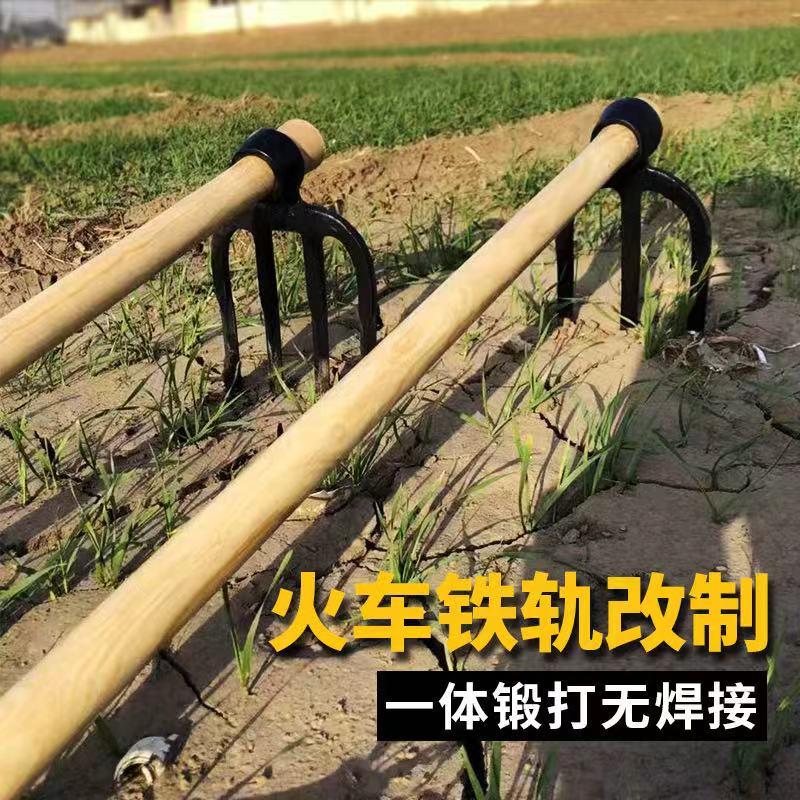軍印淬火农用三齿叉锄锄头耙子实木长柄农具松土种花种菜翻地包邮