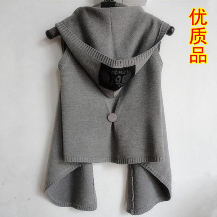 Осень новый Корейский моды жилет с капюшоном вязать женщин вскользь хлопка тонкий пальто куртки жилет