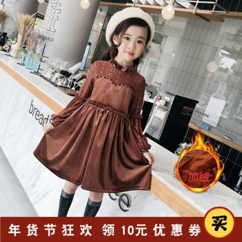 女童加绒连衣裙冬装2019新款韩版洋气儿童金丝绒裙子时尚公主裙冬