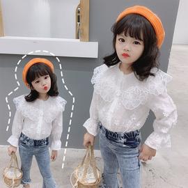 女童蕾丝衬衫洋气春秋季新款儿童娃娃衫宝宝白色衬衣长袖上衣公主图片
