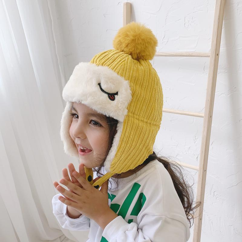 儿童帽子冬季男童加绒加厚护耳雷锋帽女童保暖防风毛绒帽宝宝可爱