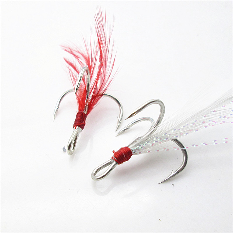 Ona blood trough feather Sanben hook No.2 No.4 imported sea fishing three anchor hook three claw hook Luya false bait accessories fishing gear