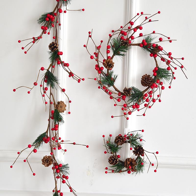 仿真红果浆果圣诞花环装饰门挂 diy橱窗挂件场景布置圣诞装饰品