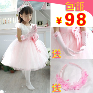 QJ Korean children wedding dress costumes flower princess skirt big virgin girls tutu skirt winter wedding