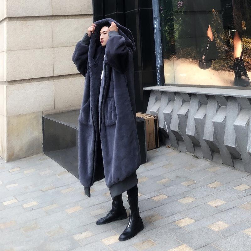 Rex Rabbit Fur super Dalian hat mens robe winter mens imitation fur coat mink velvet casual large mens fur