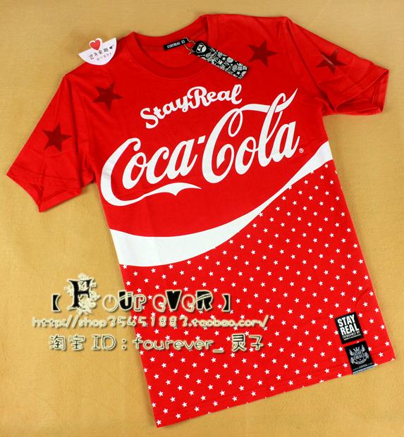 Мая день на улице Тайвань моды «SR» Кока-Кола Кока-Кола совместном звезды короткий рукав t