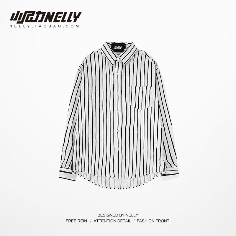 oversize男士宽松翻领条纹袖标衬衫(用1元券)