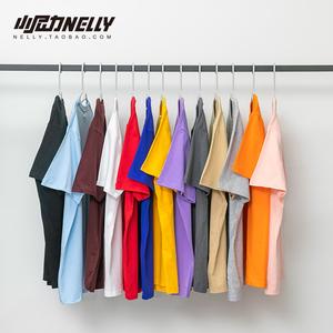 领3元券购买小尼力bf美式重磅纯棉短袖t恤男女基础款纯色oversize打底白色TEE
