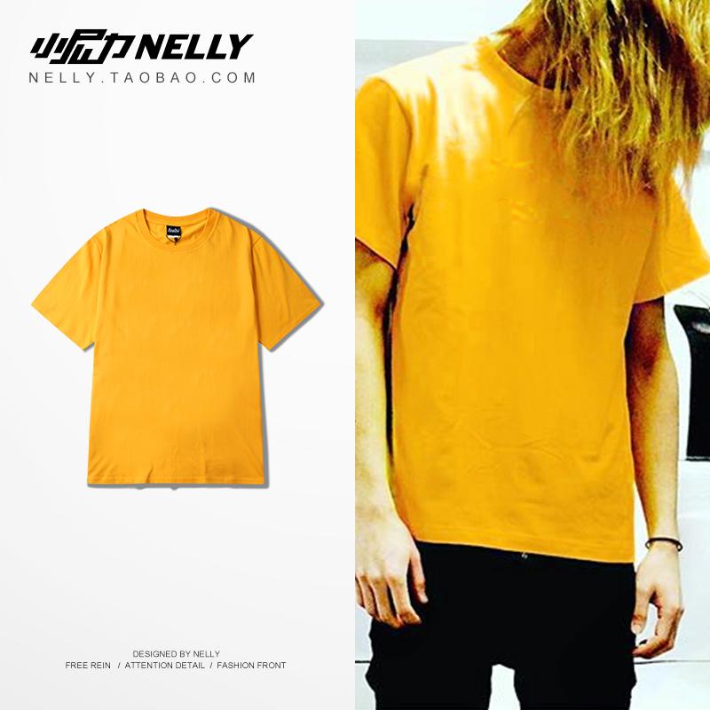 2019黄色短袖t恤宽松显瘦打底衫热销534件需要用券