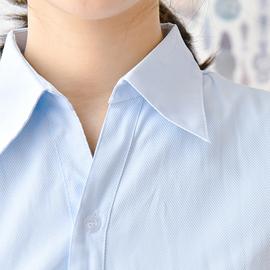 包邮浅蓝斜纹衬衫短袖女修身收腰V领隐纹衬衣职业装OL工服