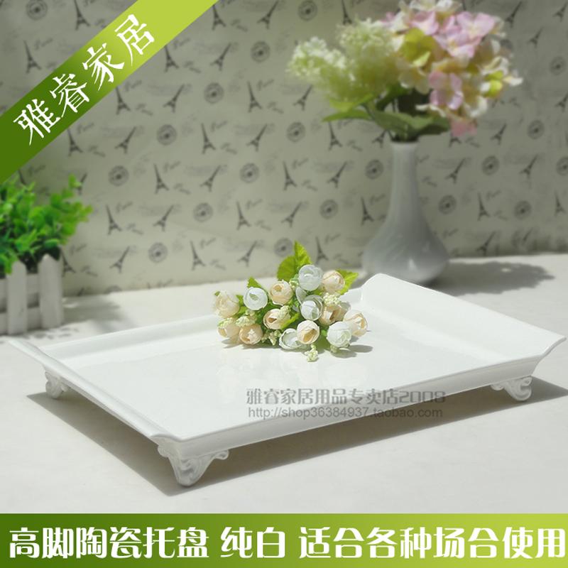 12月08日最新优惠陶瓷托盘长方形欧式陶瓷茶盘简约大号茶具咖啡杯盘家用水杯托盘
