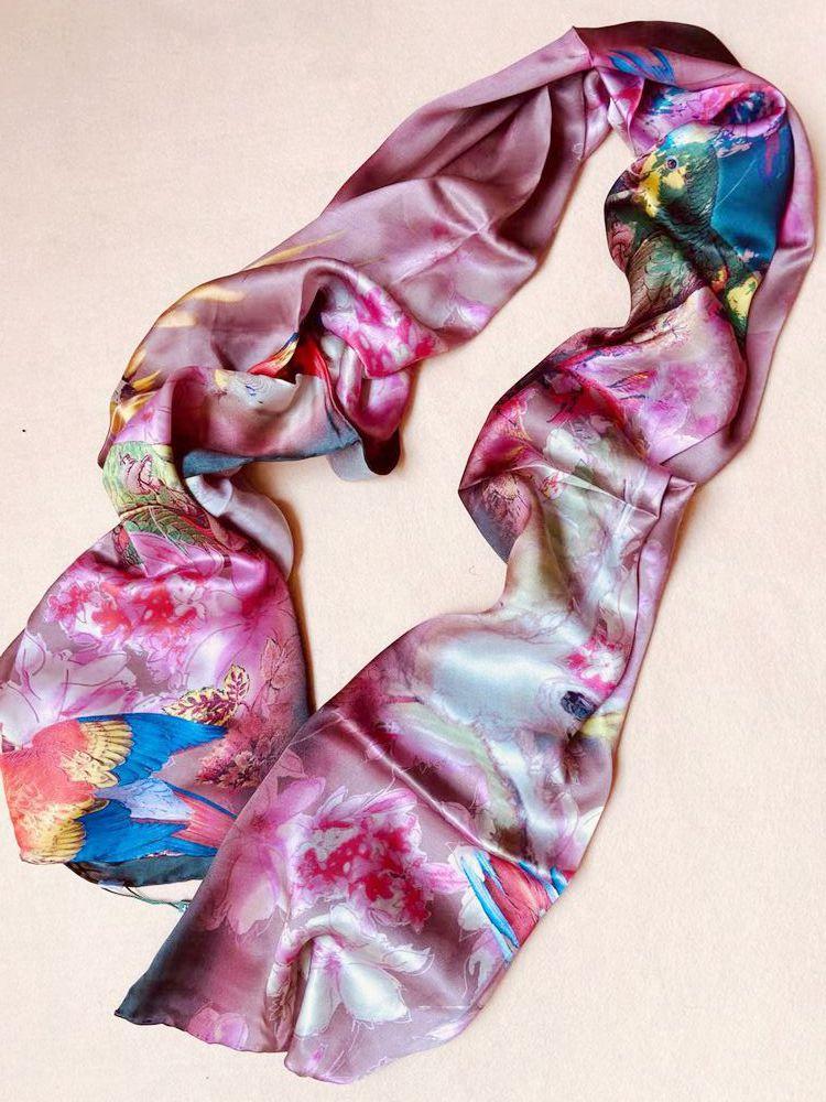 杭州丝绸春秋桑蚕丝围巾丝巾长款韩版女士百搭文艺青年长方形披肩
