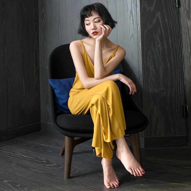莫代尔棉睡衣女夏季性感吊带长裤两件套女士韩版休闲家居服套装薄热销22件限时抢购