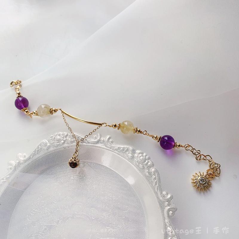 Vintage Wangs hand made natural amethyst yellow hair Crystal Garnet Bracelet sun set Zircon Pendant tail chain