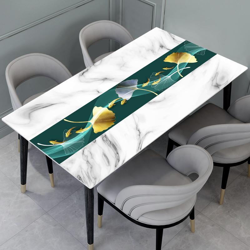 桌布防水防油免洗简约现代大理石软塑料隔热餐桌垫茶几垫子防烫厚
