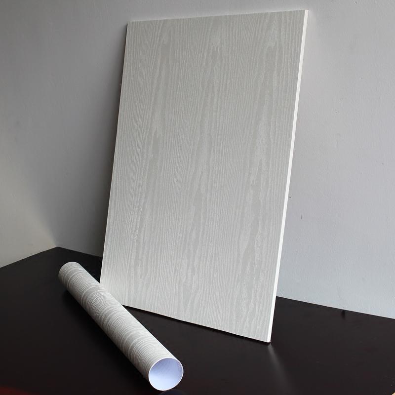 壁纸白木纹衣柜橱柜子防水旧家具翻新贴纸自粘墙纸卧室房间门贴纸