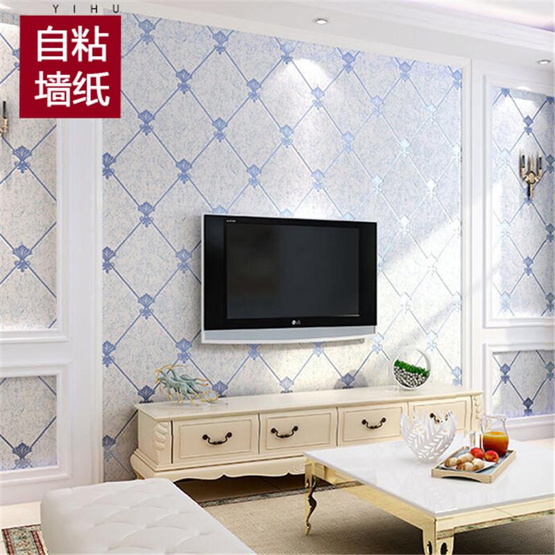 Утолщённый нетканый материал самоклеящийся стена бумага простой полоса спальня гостиная телевидение фон обои протектор наклейки