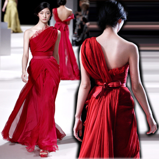 Red toast dress oblique shoulder evening dress in the store will be customized boutique