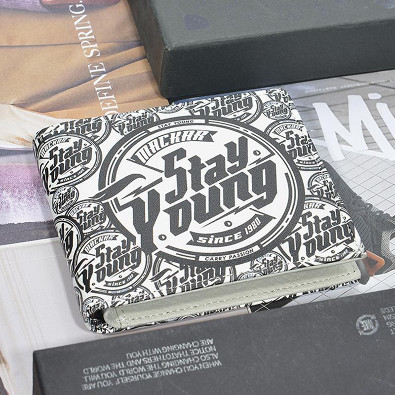 个性潮牌韩版休闲小钱包男青年短款学生钱夹时尚潮流创意超薄皮夹