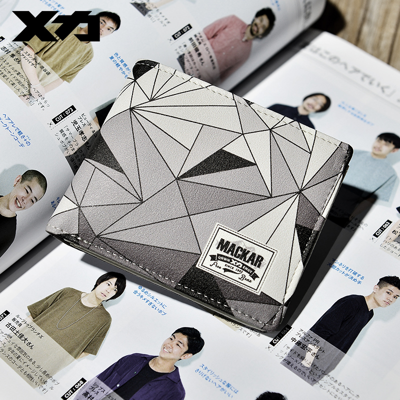 Fashion brand wallet mens short wallet fashion personality ins youth high school students Korean Wallet