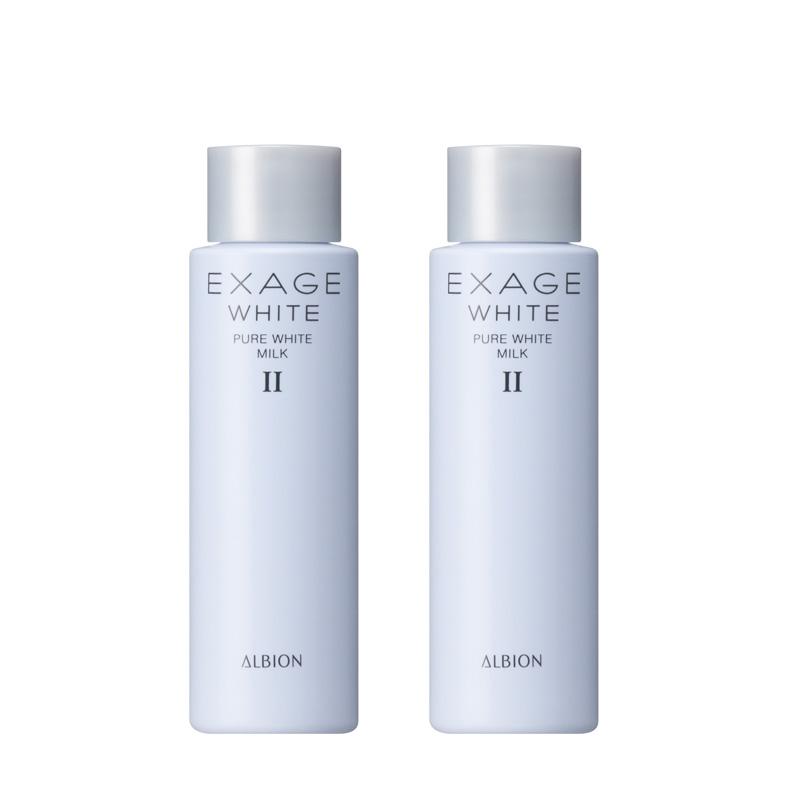 日本ALBION奥尔滨EXAGE WHITE美白渗透乳液2号30g蓝色焕白小样2支
