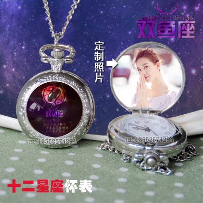 Bright star 12 constellations pocket watch customized photo wall watch men and women friends creative gift student Necklace table