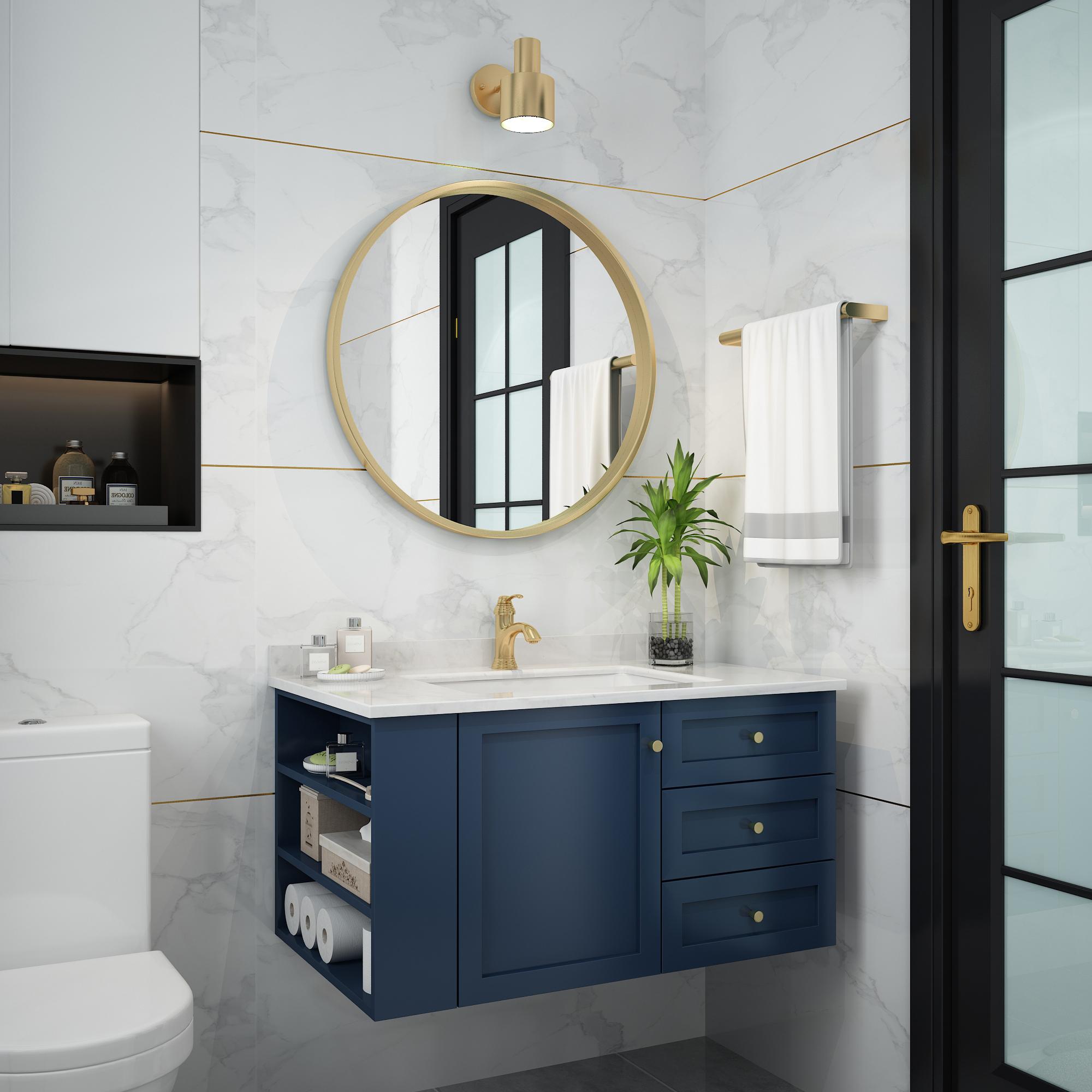 北欧风橡木实木浴室柜组合现代卫小户型洗手盆吊轻奢洗漱台盆定做(非品牌)
