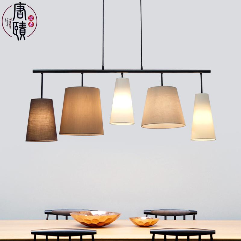 北欧简约创意个性吊灯新亚洲中式餐厅吧台装饰灯现代温馨布艺餐灯