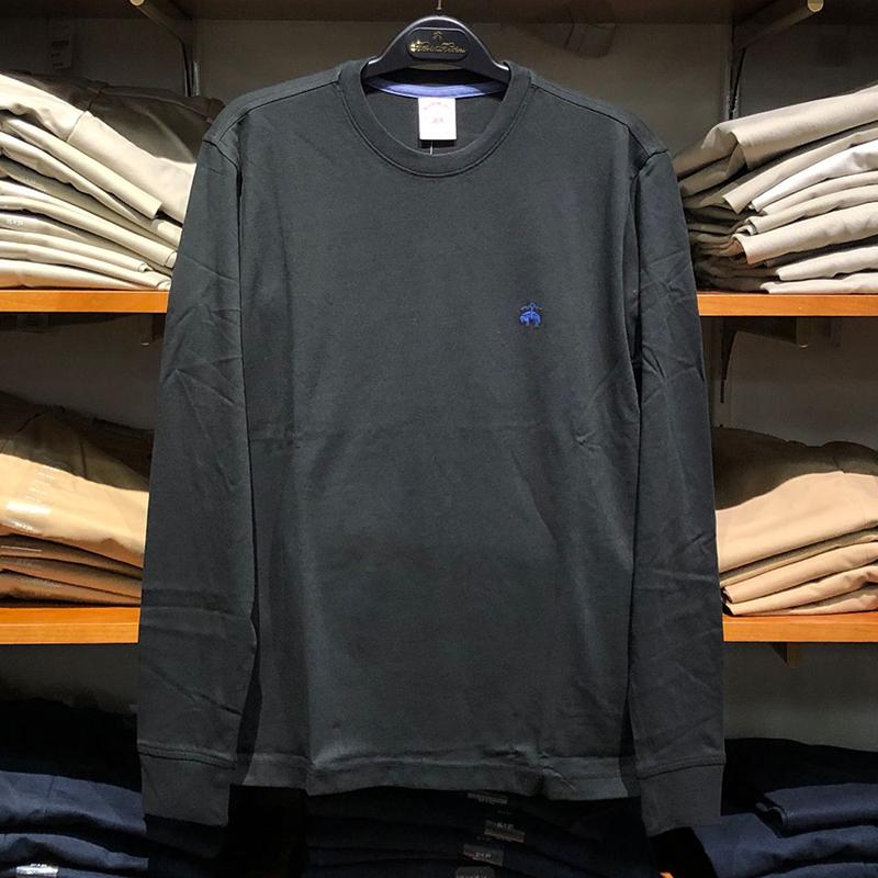 纽约大宝 Brooks Brothers布克兄弟 男士纯色刺绣小logo长袖T恤(非品牌)