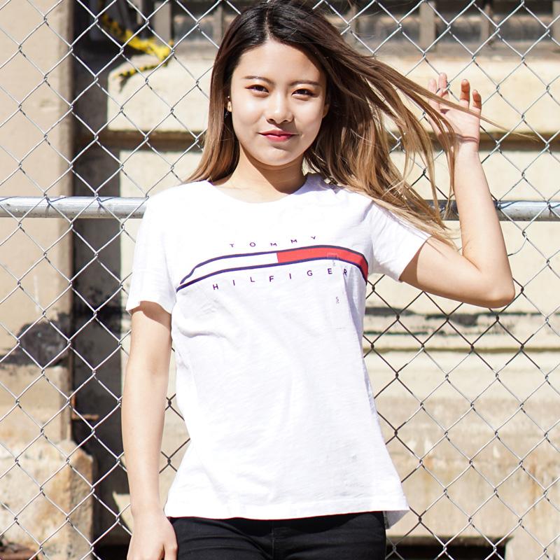 紐約大寶 TOMMY HILFIGER 女士舒適寬鬆印花LOGO圓領短袖T恤