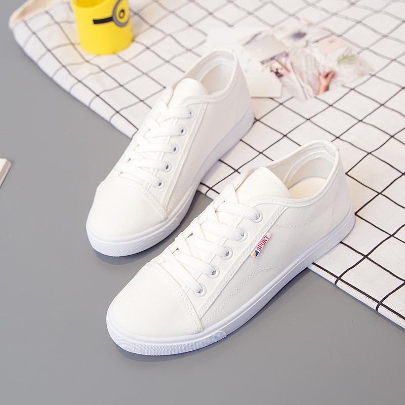 帆布鞋女透气韩版百搭休闲鞋2018春夏新款女鞋学生平底鞋小白鞋子
