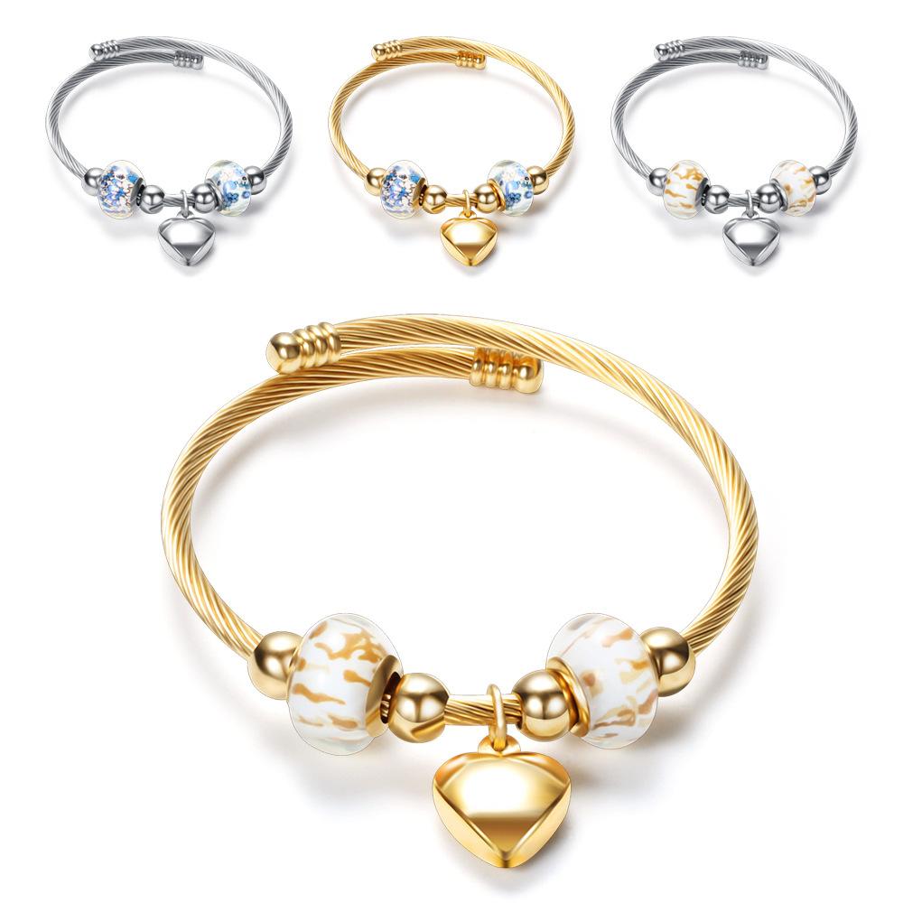时尚钛钢手镯 diy串珠手镯 开口爱心钛钢女式手镯 闺蜜手环