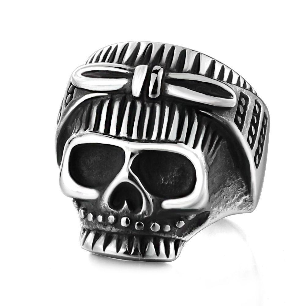 Fashion titanium steel ring rock Halloween retro bow Skull Ring Titanium Steel Mens ring ring