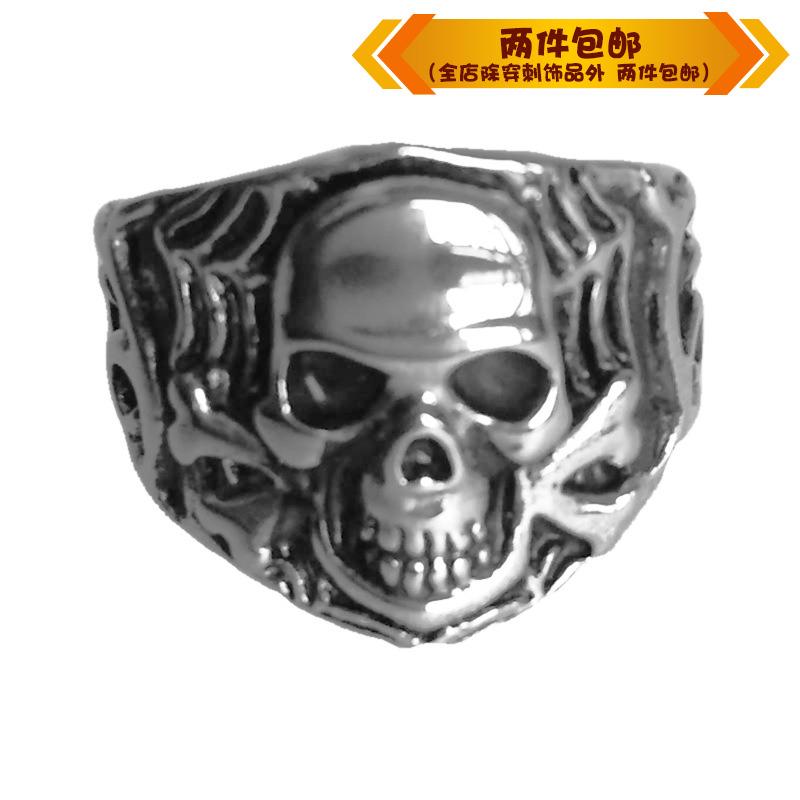 时尚钛钢戒指欧美摇滚歌特乐队朋克复古骷髅骨头钛钢男款戒指指环