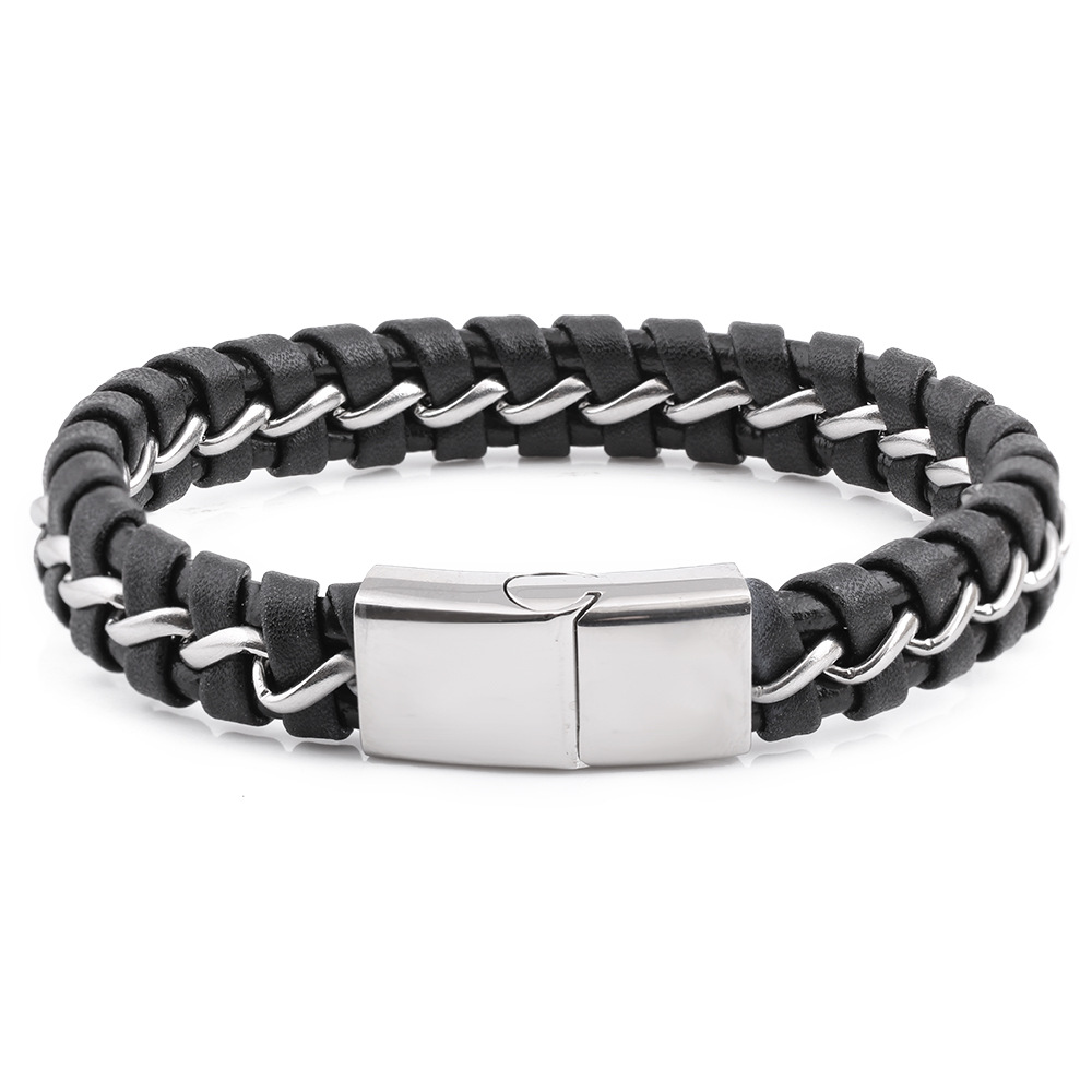 Fashion titanium steel bracelet titanium steel black leather woven mixed leather bracelet fashion mens titanium steel mens Bracelet