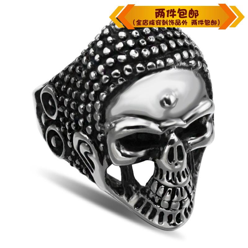 时尚钛钢戒指 新款骷髅头戒指朋克霸气戒指 摇滚男款戒指指环