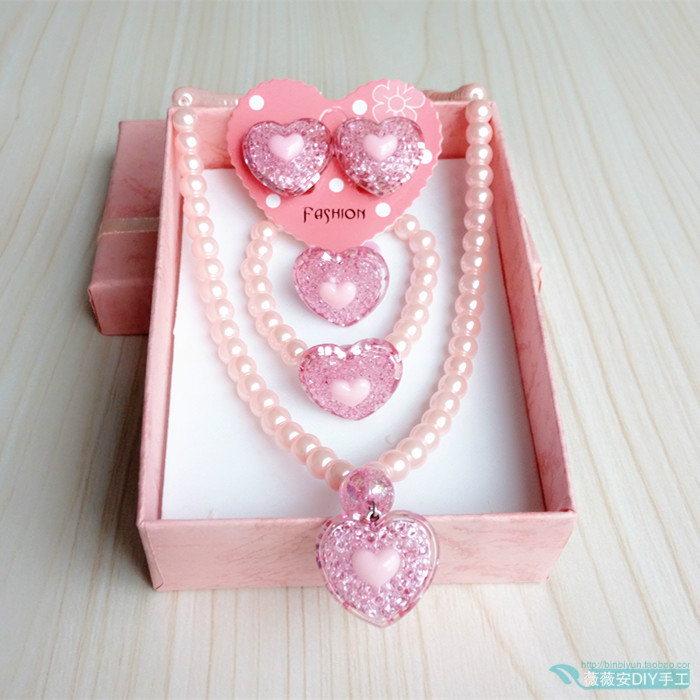 Childrens love necklace set peach heart bracelet Princess jewelry little girl accessories ear clip Girl Jewelry 3-10 years old