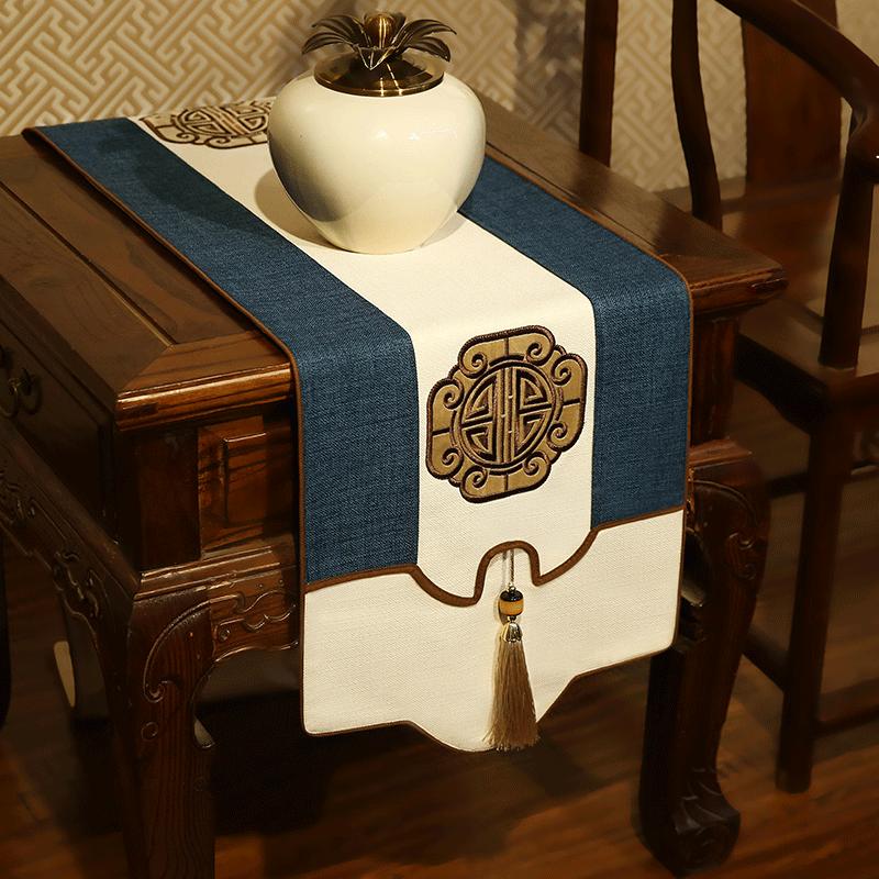 新中式桌旗中式禅意中国风棉麻茶桌桌旗电视柜盖布长桌旗床旗定做