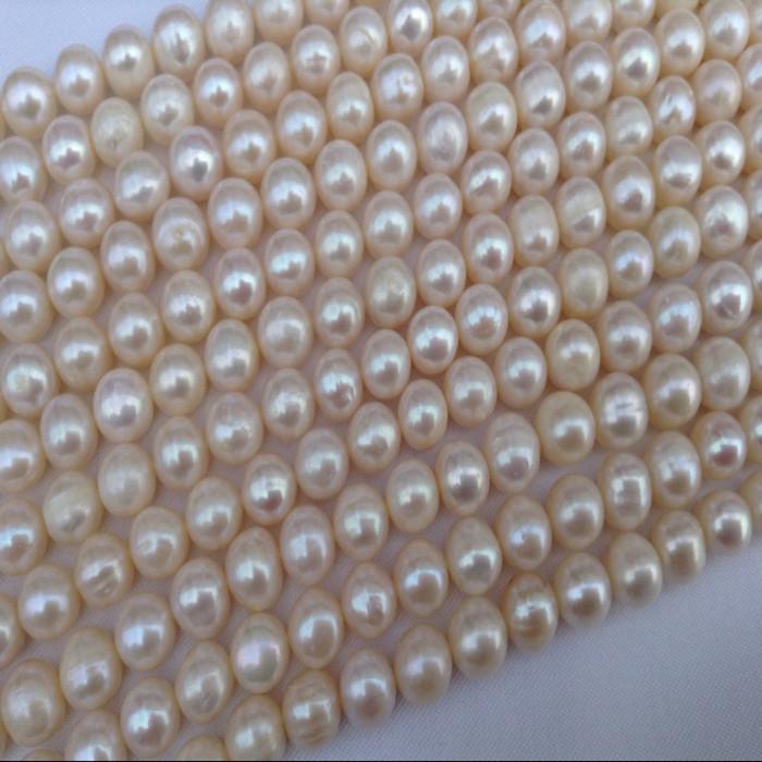 淡水珍珠项链 8-9近圆淡水珍珠 半成品珍珠项链 土豆圆淡水珍珠