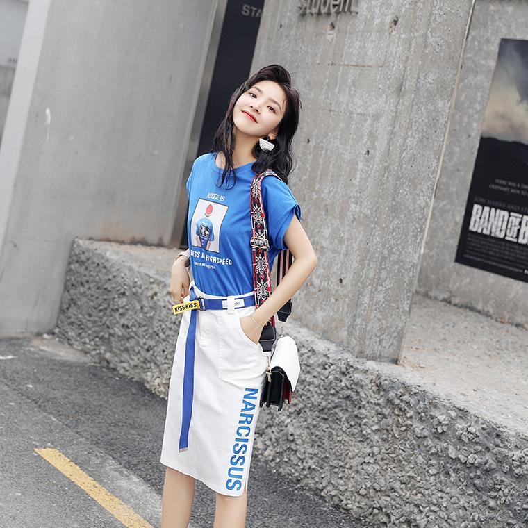 时尚套装女夏纯棉短袖T恤半裙两件套 印花开叉裙摆字母包裙送腰带