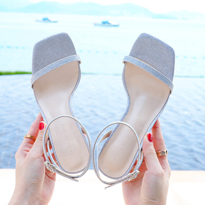 Korean 2020 summer new high heel thick heel fairy wind ribbon sparkle all kinds of square head one word with buckle sandals