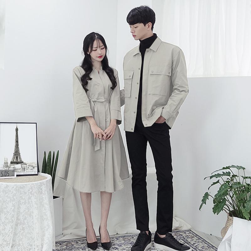 限时2件3折情侣装秋装2019冬季新款小众设计感连衣裙女不一样的长袖衬衫外套