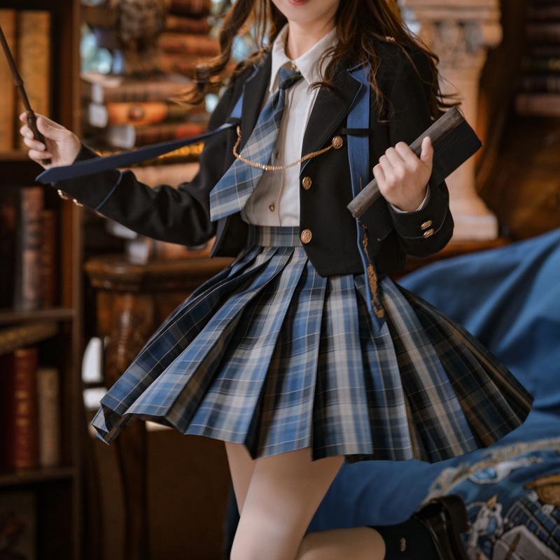 原创森女部落三角函数JK正版格裙制服半身裙校供感高腰百褶裙短裙