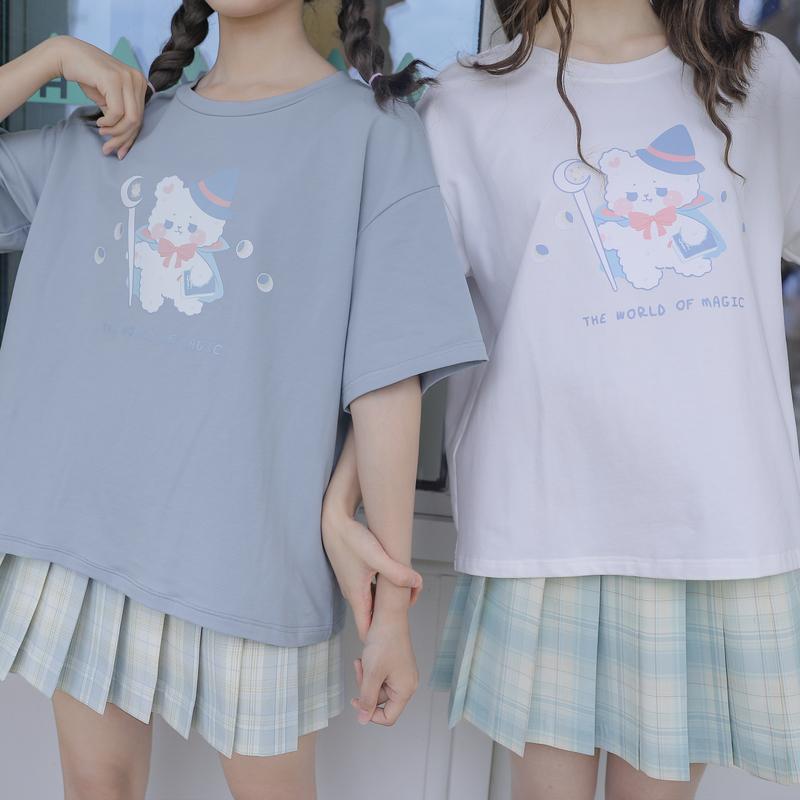 原创森女部落软妹上衣日系可爱新疆棉t恤闺蜜装夏季新款宽松学生