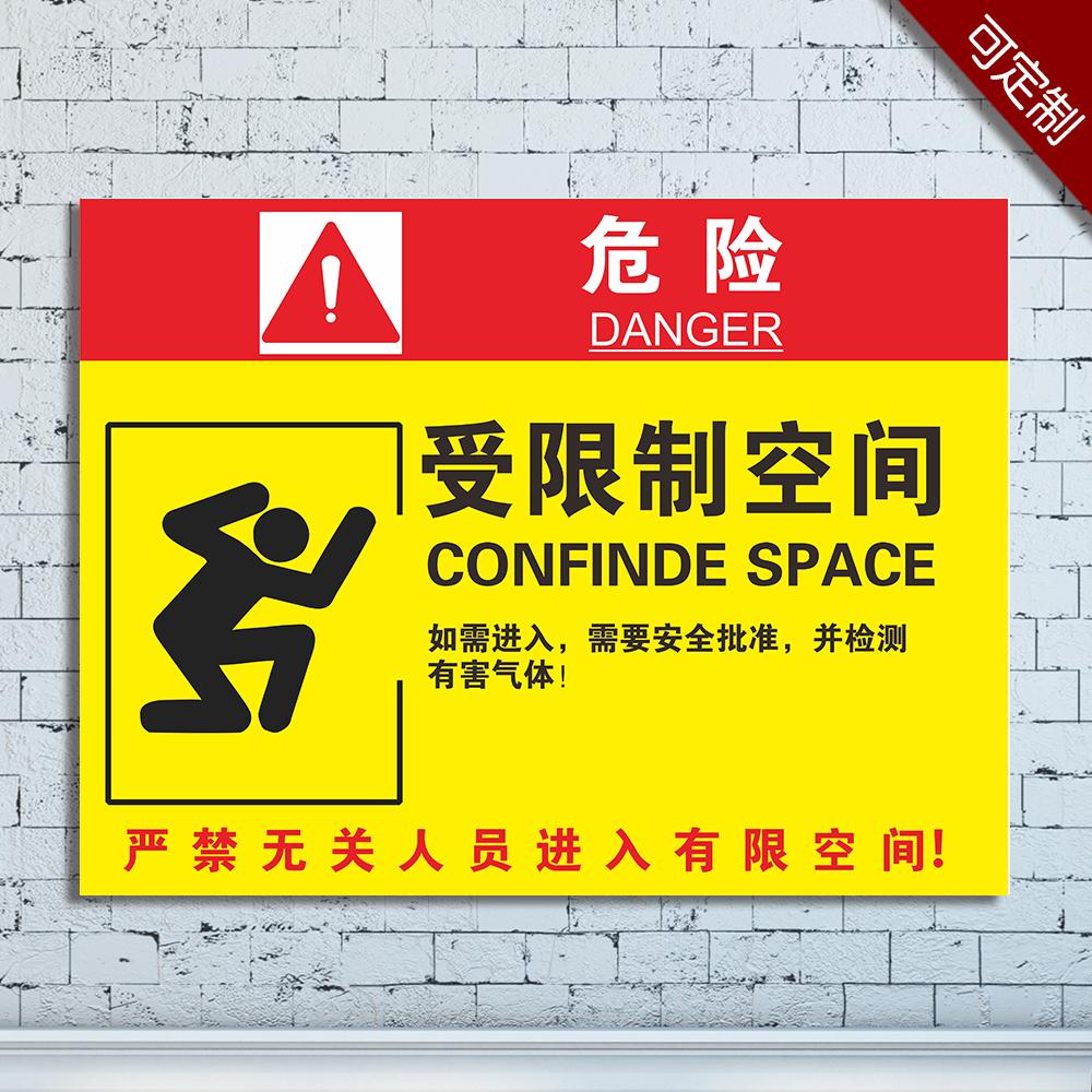 受限制空间作业安全告知牌卡警示标志告示危险标识职业病危害标示