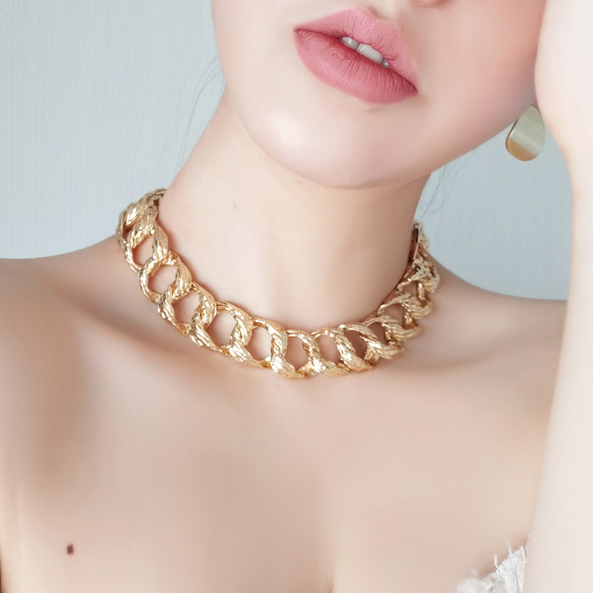 Act wildly big gold chain no little watch punk dog chain metal necklace