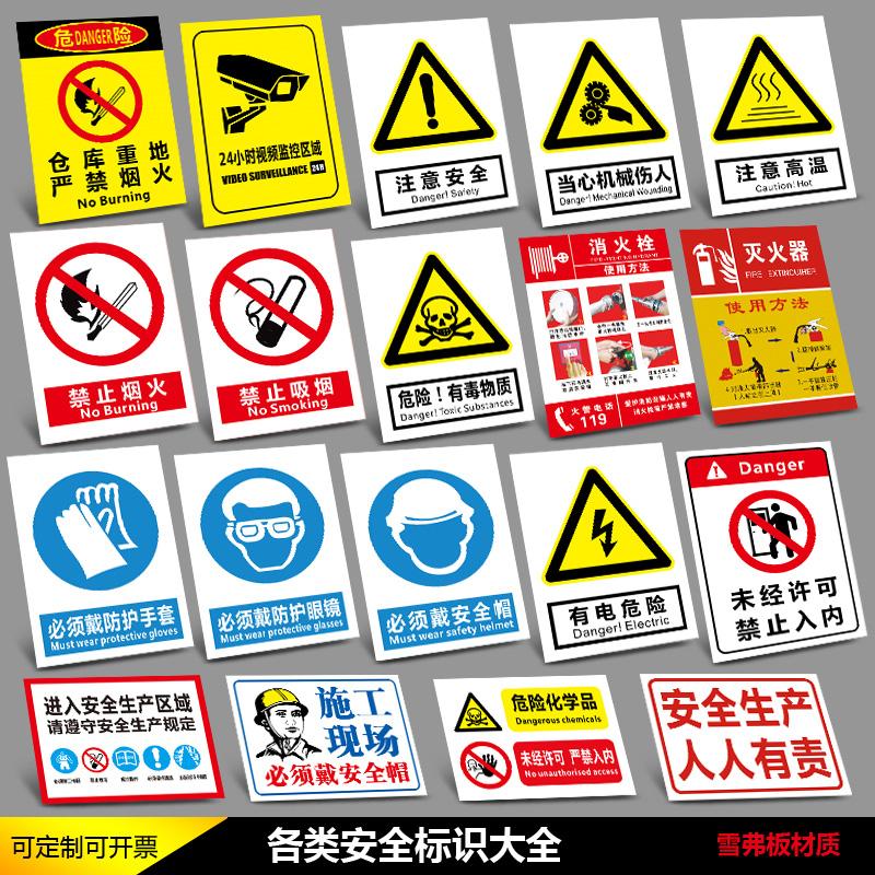 安全标识牌禁止吸烟提示牌当心触电有电危险严禁烟火内有监控警示