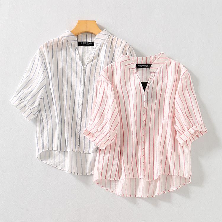 波斯帼女装 夏季雪纺竖条纹V领衬衫 五分灯笼袖宽松显瘦透气上衣