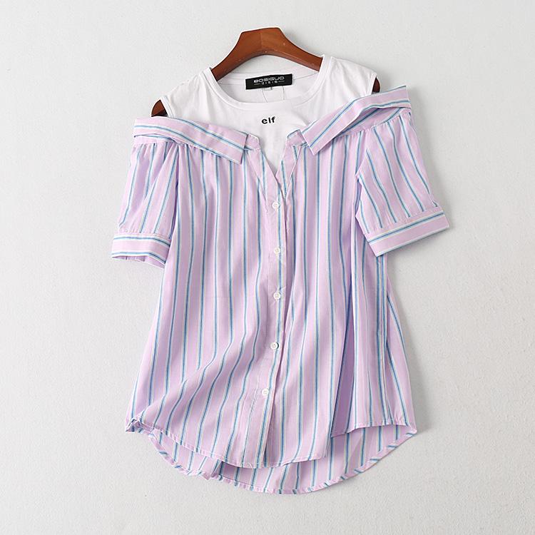 波斯帼女装 夏季竖条纹一字领露肩假两件短袖衬衫 撞色字母上衣